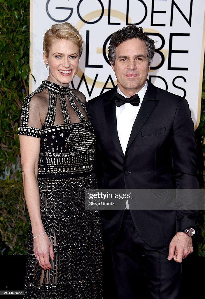 Actor Mark Ruffalo (R) and Sunrise Coigney attend the 73rd Annual Golden Globe Awards held at the Beverly Hilton Hotel on January 10, 2016 in Beverly Hills, California.