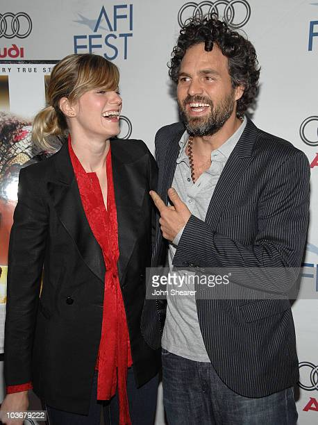 Actor Mark Ruffalo and wife Sunrise Coigney arrive at the AFI Film Festival screening of The Brothers Bloom at ArcLight Cinemas on November 3 2008 in...