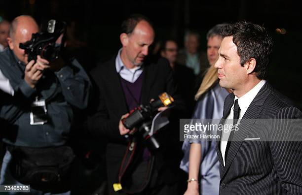Actor Mark Ruffalo arrives at the Paramount Pictures' Premiere Of 'Zodiac' held at Paramount Studios on March 12007 in Los Angeles California
