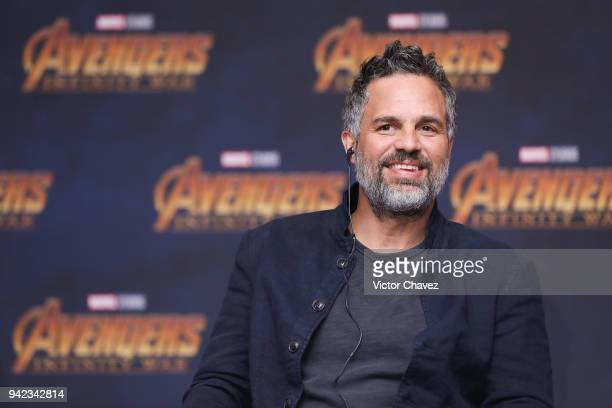Actor Mark Ruffalo attends a press conference to promote the film Avengers Infinity War at Four Seasons Hotel on April 5 2018 in Mexico City Mexico