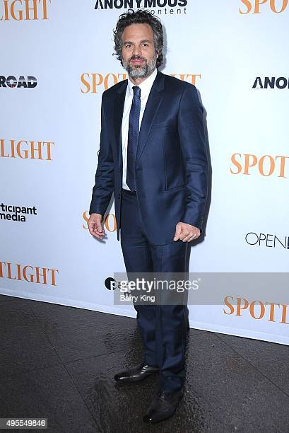 "Actor Mark Ruffalo attends screening of Open Road Films' ""Spotlight"" at the DGA Theater on November 3, 2015 in Los Angeles, California."