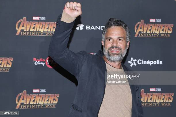 Actor Mark Ruffalo attends the Avengers Infinity War fan event at Parque Toreo on April 5 2018 in Mexico City Mexico
