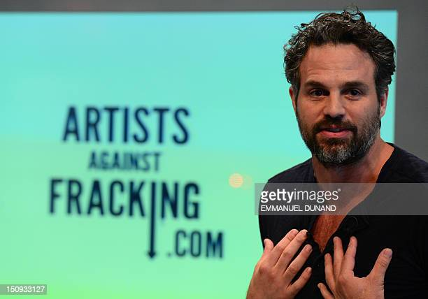 US actor Mark Ruffalo attends the launch of Artists Against Fracking an activist partnership project opposed to hydraulic fracking at a press...