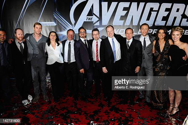 Actor Mark Ruffalo Director Joss Whedon actor Chris Hemsworth Executive Producers Victoria Alonso and Louis D'Esposito actor Robert Downey Jr...