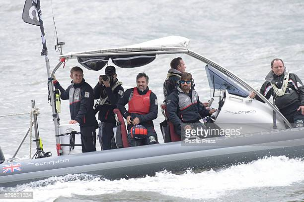 Actor Mark Ruffalo in chase boat lending support to Team Land Rover For the first time in nearly a century the America's Cup sailing race took place...