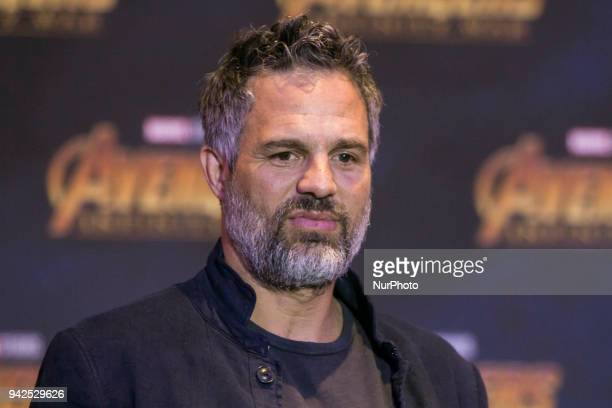 Actor Mark Ruffalo is seen speaking during press conference of Avengers Infinity War at Four Season Hotel on April 05 2018 in Mexico City Mexico