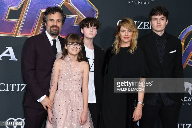 US actor Mark Ruffalo Odette Ruffalo Bella Ruffalo US actress Sunrise Coigney and Keen Ruffalo arrive for the World premiere of Marvel Studios'...