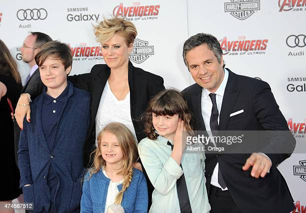 Actor Mark Ruffalo Sunrise Coigney Keen Ruffalo Bella Ruffalo and Odette Ruffalo arrives for the Premiere Of Marvel's Avengers Age Of Ultron held at...