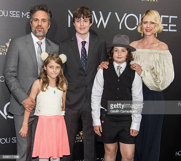 Actor Mark Ruffalo wife Sunrise Coigney and children Odette Ruffalo Keen Ruffalo and Bella Ruffalo attend 'Now You See Me 2' World Premiere at AMC...