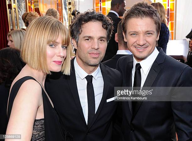 Actor Mark Ruffalo wife Sunrise Ruffalo and actor Jeremy Renner arrive at the TNT/TBS broadcast of the 17th Annual Screen Actors Guild Awards held at...