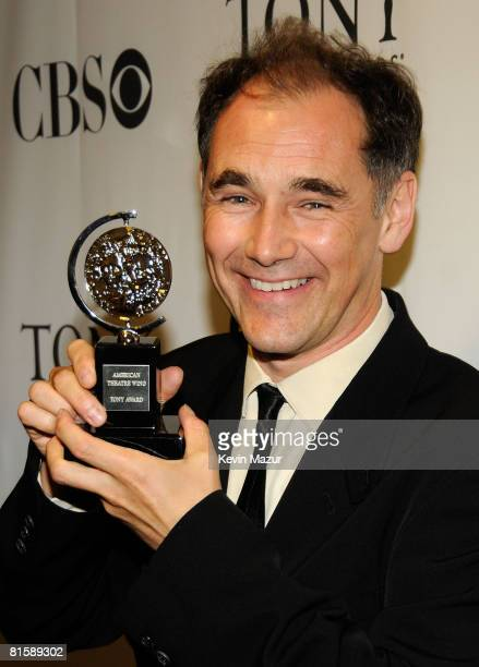 Actor Mark Rylance poses backstage with his Tony Award during the 62nd Annual Tony Awards at Radio City Music Hall on June 15 2008 in New York City