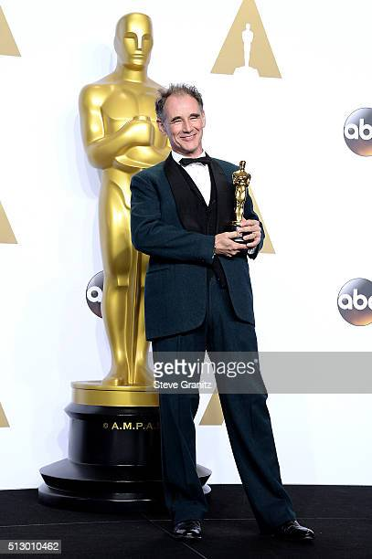 Actor Mark Rylance winner of the award for Best Actor in a Supporting Role for 'Bridge of Spies' pose in the press room during the 88th Annual...