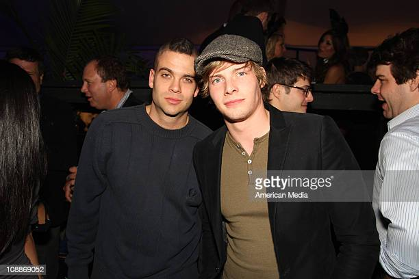 Actor Mark Salling and actor Hunter Parrish attend the Super Bowl XLV Playboy party on February 4 2011 in Dallas Texas