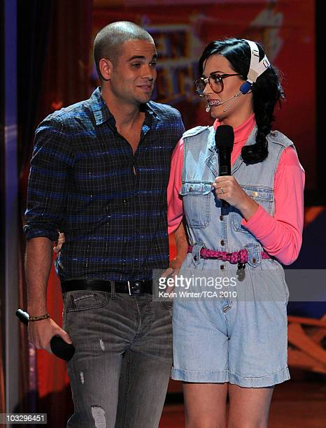 Actor Mark Salling and host Katy Perry speak onstage during the 2010 Teen Choice Awards at Gibson Amphitheatre on August 8 2010 in Universal City...