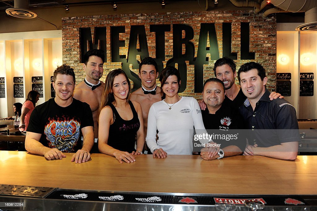 Actor Mark Shunock, Chippendales dancer Juan DeAngelo, Mariah of the production show 'Fantasy', Chippendales dancer Jon Howes, chef Carla Pellegrino, chef Saul Ortiz-Cruz, radio personality JC Fernandez and hypnotist Marc Savard appear at the meatball eating contest at the Meatball Spot on March 16, 2013 in Las Vegas, Nevada.