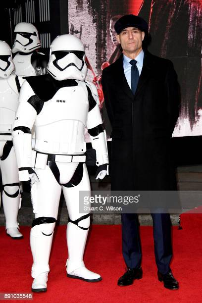 Actor Mark Strong poses with a Stormtrooper as he attends the European Premiere of 'Star Wars The Last Jedi' at Royal Albert Hall on December 12 2017...
