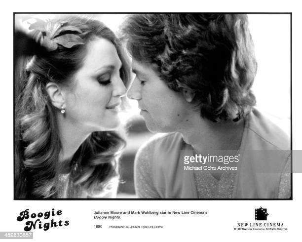 Actor Mark Wahlberg and actress Julianne Moore on set of the movie 'Boogie Nights ' circa 1997