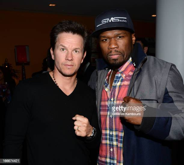 """Actor Mark Wahlberg and Curtis """"50 Cent"""" Jackson attend the Cinema Society and Men's Fitness screening of """"Pain and Gain"""" at the Crosby Street Hotel..."""