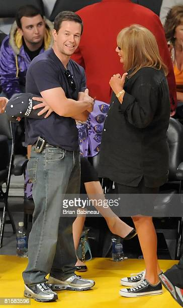 Actor Mark Wahlberg and director Penny Marshall attend game five of the 2008 NBA Finals between the Boston Celtics and Los Angeles Lakers on June 15...
