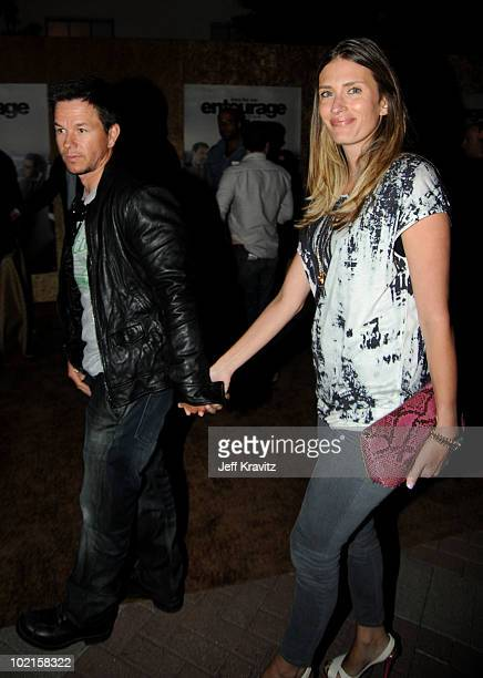 Actor Mark Wahlberg and model Rhea Durham attend HBO's Entourage Season 7 premiere after party held at Paramount Theater on the Paramount Studios lot...