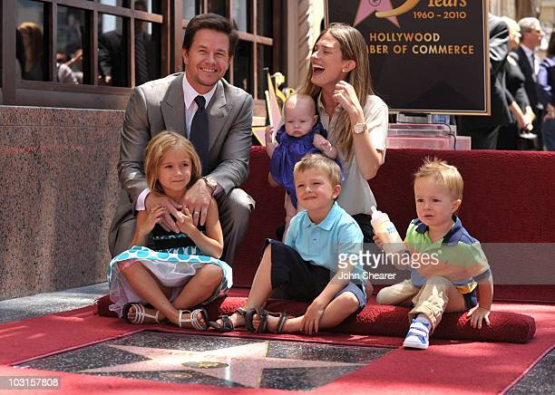 Actor Mark Wahlberg and wife Rhea Durham with their children Ella Michael Brendan and Grace attend Wahlberg's Hollywood Walk of Fame Star Cermony on...