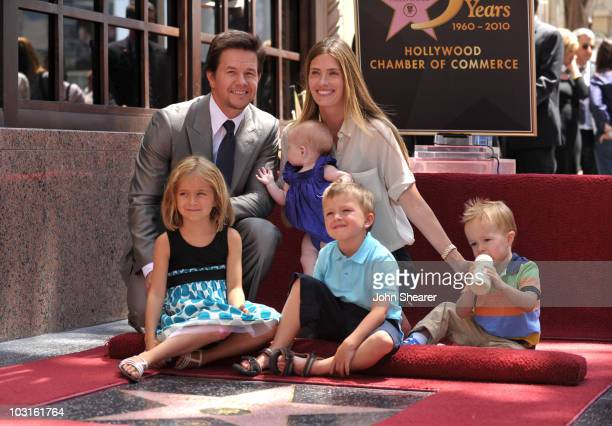 Actor Mark Wahlberg and wife Rhea Durham with their children Ella, Michael, Brendan, and Grace attend Wahlberg's Hollywood Walk of Fame Star Cermony...