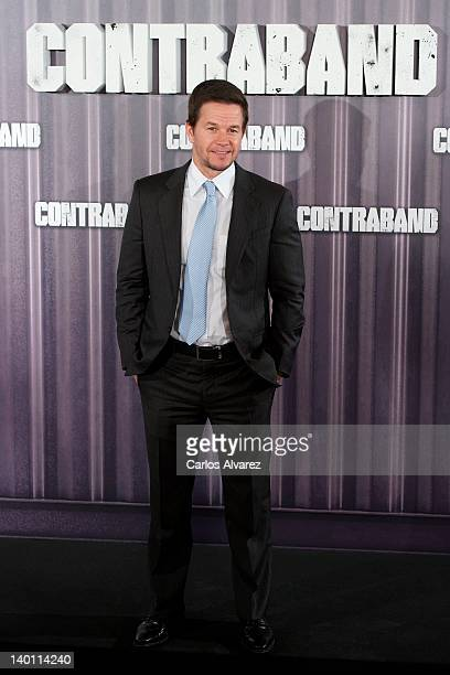 Actor Mark Wahlberg attends a Contraband photocall at Villamagna Hotel on February 28 2012 in Madrid Spain