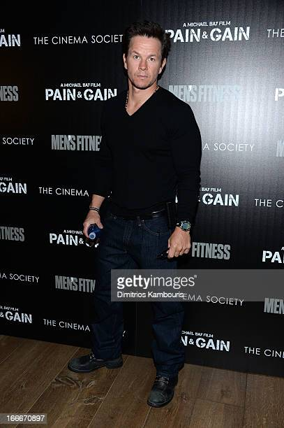 """Actor Mark Wahlberg attends the Cinema Society and Men's Fitness screening of """"Pain and Gain"""" at the Crosby Street Hotel on April 15, 2013 in New..."""