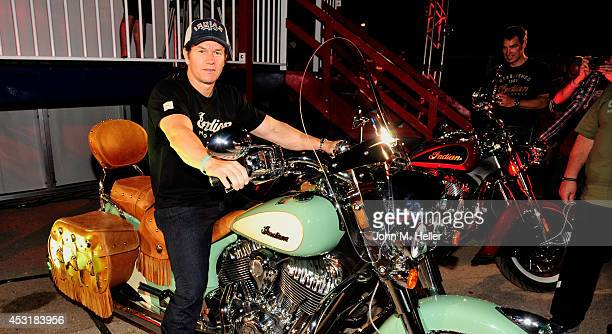 Actor Mark Wahlberg attends the VIP unveiling of the 2015 Indian Scout at the 74th annual Sturgis Motorcycle Rally on August 2 2014 in Sturgis South...