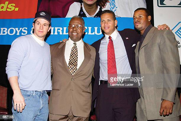 Actor Mark Wahlberg baseball Hall of Famer Hank Aaron baseball superstars Alex Rodriguez and Ken Griffey Jr announce the launch of Campaign 3 PM at...