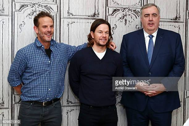 Actor Mark Wahlberg director Peter Berg and former Boston police commissioner Ed Davis attend Build Presents Mark Wahlberg Peter Berg Ed Davis...