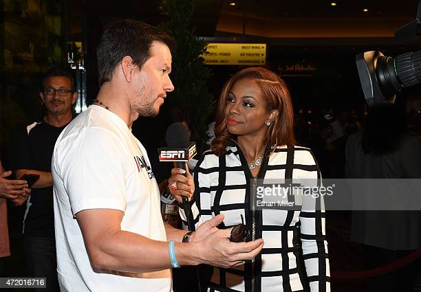 Actor Mark Wahlberg is interviewed by ESPN reporter Josina Anderson at the SHOWTIME And HBO VIP PreFight Party for Mayweather VS Pacquiao at MGM...