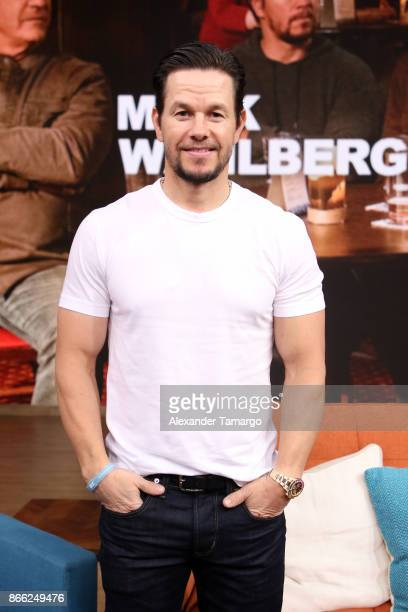 Actor Mark Wahlberg is seen on the set of 'Despierta America' to promote the movie 'Daddy's Home 2' at Univision Studios on October 25 2017 in Miami...