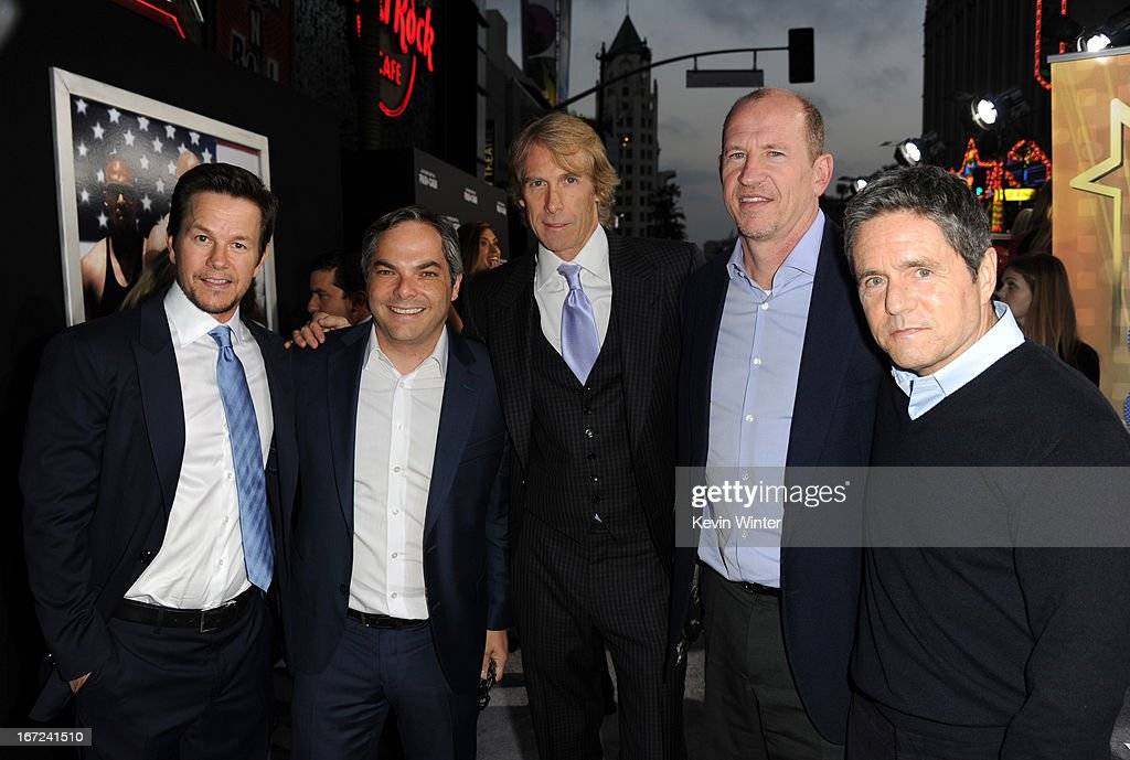 Actor Mark Wahlberg, President/ Paramount Film Group Adam Goodman, director Michael Bay, Vice Chairman of Paramount Pictures Rob Moore, and Paramount Pictures Chairman & CEO Brad Grey arrive at the premiere of Paramount Pictures' 'Pain & Gain' at TCL Chinese Theatre on April 22, 2013 in Hollywood, California.