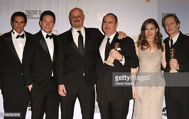 Actor Mark Wahlberg producer Terence Winter actors Kelly Macdonald and Steve Buscemi pose and producers of Boardwalk Empire in the press room at the...