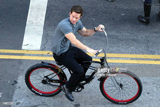 Actor Mark Wahlberg rides a beach bike on the set of the 'Italian Job' on October 5 2002 in Hollywood California