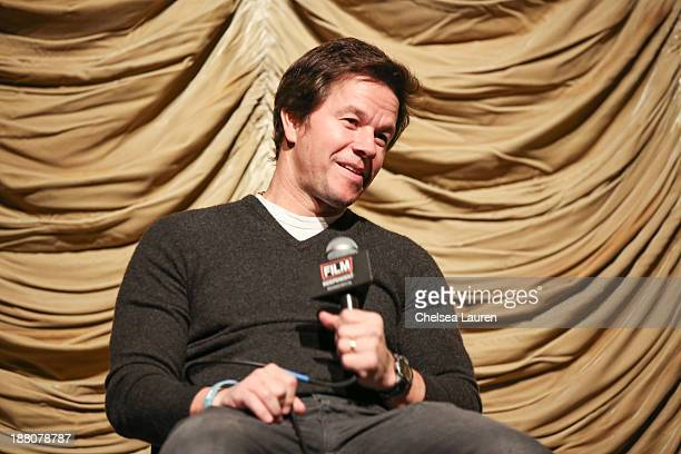 Actor Mark Wahlberg speaks at the Film Independent at LACMA screening and QA of 'Lone Survivor' at Bing Theatre At LACMA on November 14 2013 in Los...