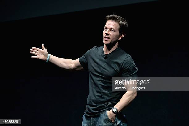 Actor Mark Wahlberg speaks onstage during CinemaCon 2014 Off and Running Opening Night Studio Presentation from Paramount Pictures at Caesars Palace...