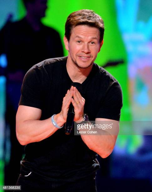 Actor Mark Wahlberg speaks onstage during Nickelodeon's 27th Annual Kids' Choice Awards held at USC Galen Center on March 29 2014 in Los Angeles...