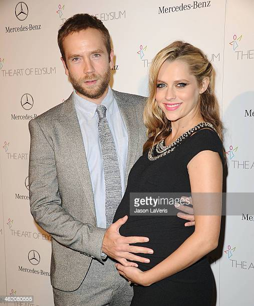 Actor Mark Webber and actress Teresa Palmer attend the Art of Elysium's 7th annual Heavan gala at Skirball Cultural Center on January 11 2014 in Los...