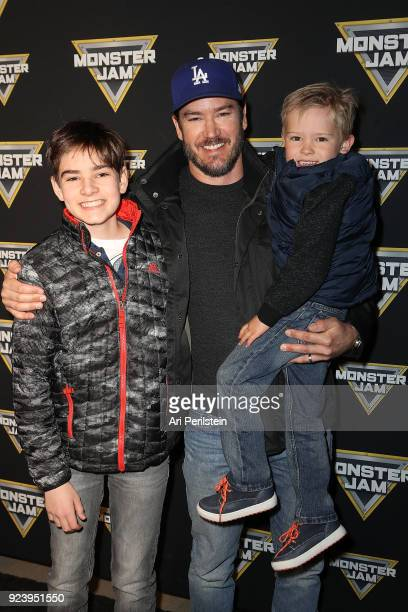 Actor MarkPaul Gosselaar and his sons Michael and Dekker arrive at Monster Jam Celebrity Event at Angel Stadium on February 24 2018 in Anaheim...