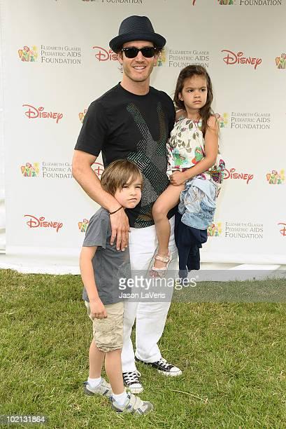 Actor MarkPaul Gosselaar and son Michael Gosselaar and daughter Ava Lorenn Gosselaar attend the 21st annual A Time For Heroes celebrity picnic...