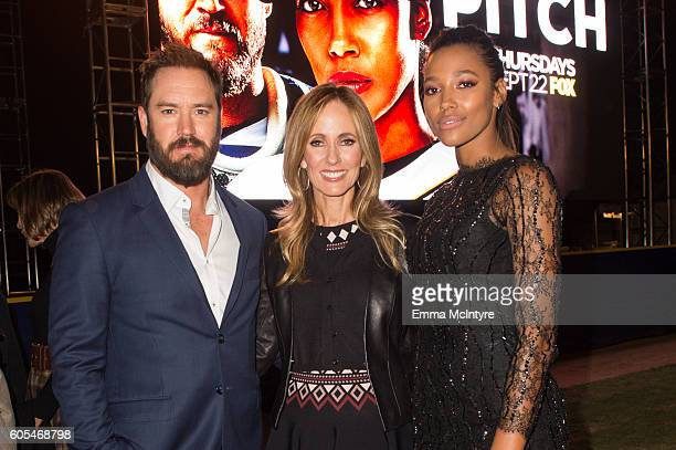 Actor MarkPaul Gosselaar Chairman and CEO of Fox Television Group Dana Walden and actress Kylie Bunbury attend the premiere of Fox's 'Pitch' at West...