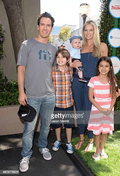 Actor MarkPaul Gosselaar Michael Charles Gosselaar wife Catriona McGinn and Ava Lorenn Gosselaar attend the Safe Kids Day at The Lot on April 5 2014...