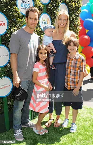 Actor MarkPaul Gosselaar Michael Charles Gosselaar wife Catriona McGinn and Ava Lorenn Gosselaar arrive at Safe Kids Day at The Lot on April 5 2014...