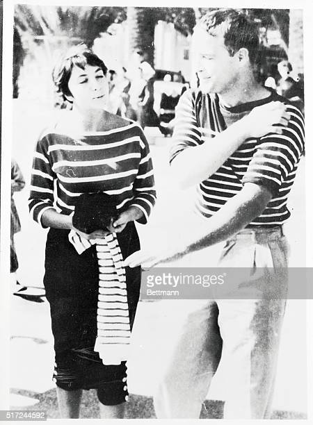 Actor Marlon Brando and Josiane Marianni Berenger appear together in Bandol after a rowboat ride amid the hubbub following the girl's stepfather's...