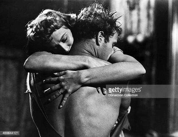 Actor Marlon Brando and Kim Hunter on the set of the movie 'A Streetcar Named Desire' which came out in 1951
