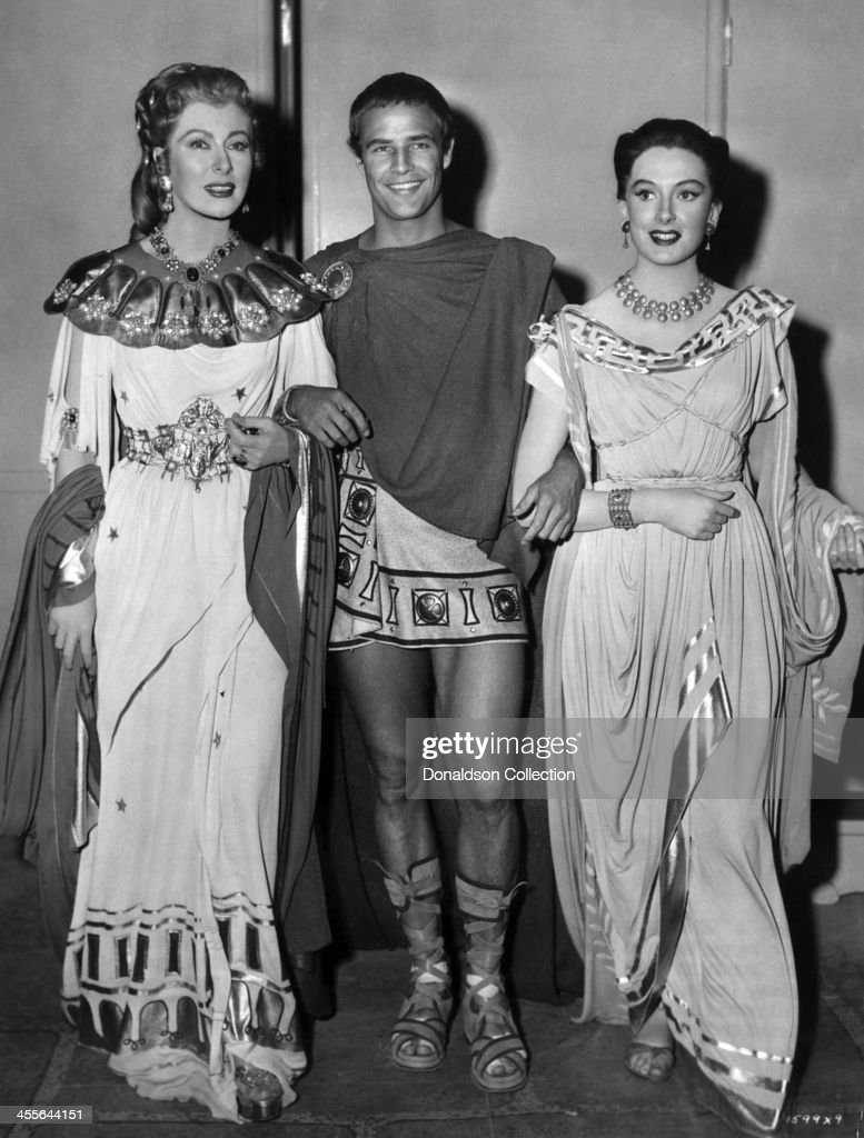 Actor Marlon Brando Greer Garson (L) and Deborah Kerr pose for a portrait on the set of the movie 'Julius Caesar' which came out in 1953.