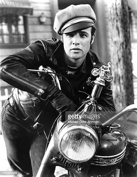 Actor Marlon Brando rides a Triumph motorcycle in a scene from the movie The Wild One which came out in 1953