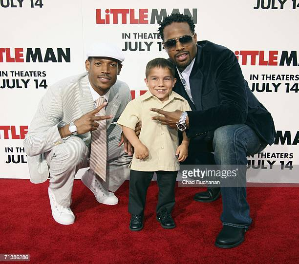 Actor Marlon Wayans Linden Porco and Shawn Wayans arrive at Sony Pictures Premiere of 'Little Man' at the Mann National Theater on July 6 2006 in...